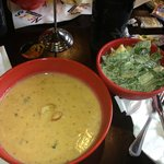 Crab soup and ceasar salad.