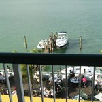 Looking down at Shuckers from our balcony...