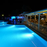 Pool and pool bar at night