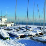 Sailing Club opposite restaurant in the snow