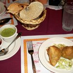 Veggie Samosa, Chutnies and Papadum