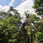 one of our guide Zip Lining with ease