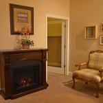 Room eight with fireplace and walkin closet