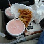 Tangerine shake & yummy fries