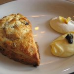 Scone with curd and creme fraiche