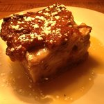 Homemade bread pudding with homemade bourbon sauce!