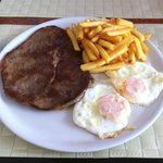 Meat with fried eggs & chips