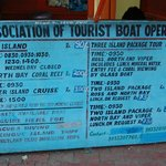 Ferry timings and fees