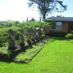 Un tahu, con  7 mohai tallados de piedas volcánicas