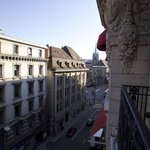 view from balcony of 338 onto St François place