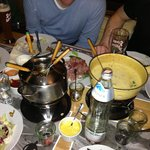 Both cheese and meat fondue