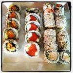 Left 2 Right: Sweet Veggie Roll, Smokey Philly, Ebi Roll, Alaska roll