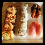 Crispy Scallop Roll, California Roll, Unagi, Yellowtail