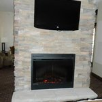 fireplace and tv in room