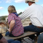 Driving the Belgin horse team on the wagon ride.
