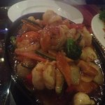sizzling prawns with barbecue sauce