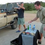 drinks at the evening game drive