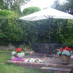 sitting area in back garden