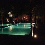 the swimming pools at night