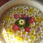 Flower decorations at restaurant