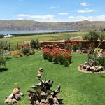 Hotel grounds with Puno in the background