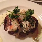 my steak with poached lobster tails.