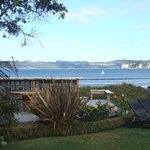 View from our room showing macrocarpa tablevoverlooking the bay