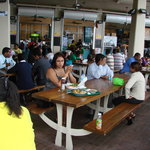 Eating local Lunch at the Breakfast Shead, Port-of-Spain