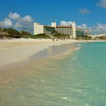 Beautiful beach at Westin Cancun--Royal Beach Club building.