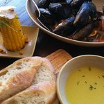 Delicious mussels and char grilled corn