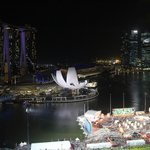 View of the Marina Bay area at night.