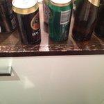 chipped bench above fridge