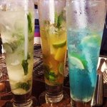 lychee cocktail, orange & lime mojito, electric blue Long Is