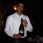 this server was served with Italian wine Prosseco profesionelle way with his b