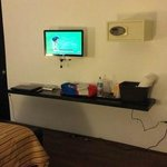 LCD TV, safe, floating desk