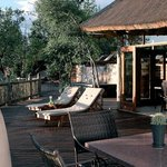 The communal deck overlooks our waterhole and hosts dinners.