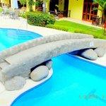 Our swimming pool and condominiums. Club del Cielo Condo hotel at Jaco beach, Costa Rica