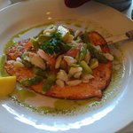Salmon with avocado and crabmeat.