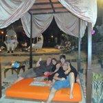 beds at the beach bar
