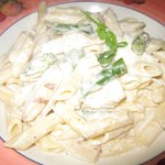 Penne with chicken and aspargus in an Alfredo sauce.