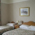 Room 4 overlooking gardens, one double and one single bed and en-suite bathroom