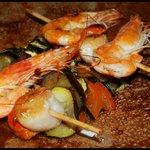 Galette brochette saint-jacques et crevettes