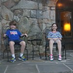 My children relaxing on the porch off the dining area right before the firewor