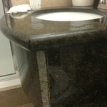 bathroom sink with rough edge
