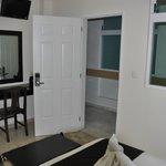 Bedroom work area & view to hallway
