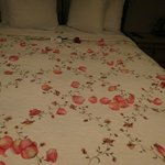 Rose petals on our bed
