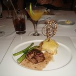 Drinks, flitel mignon, asparagus, potatoes at Emiliano Restaurant on site