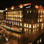 Night illumination of big bank buildings