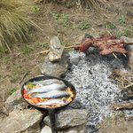 Freshly caught trout cooked streams-side
