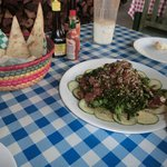 The tuna appetizer w/ spinach & cucumber...WOW!